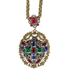 nlad903(e)- Antique Bohemian brass filigree lavaliere necklace with multi-color glass stones and enamel