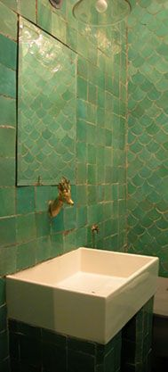 Emery et Cie Moroccan Tiles and Deer Fixture Oh, how I wish I could find these tiles *sigh* Moroccan Bathroom, Moroccan Tiles, Moroccan Decor, Moroccan Interiors, Mermaid Tile, Mermaid Bathroom, Wet Rooms, Home Staging, Bathroom Inspiration