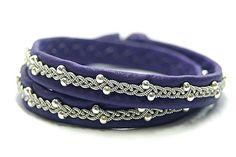 Double leather bracelet women Sami double wrap bracelet    #Sami #saami #leather #bracelets #purple #silver #Scandinavian #celtic #viking #lapon