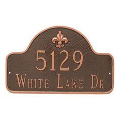Montague Metal Products Fleur De Lis Lexington Arch Large Two Line Address Sign Plaque Finish: Brick Red/Silver