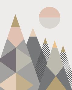 'Geo Mountains I' by Little Design Haus Graphic Art Print East Urban Home Format: Wrapped Canvas, Size: H x W x D Graphic Design Branding, Graphic Design Posters, Graphic Art, Nordic Design, Scandinavian Design, Posters Conception Graphique, Scandi Art, Graphic Projects, Geometric Wall Art