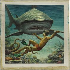 """I Fought the Sea Killer"" 1956 illustration for a men's adventure magazine by Mort Kunstler Norman Rockwell, Illustrations, Illustration Art, Albert Dubout, Art Pulp, Le Kraken, Shark Art, Big Shark, Scary Shark"