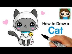 How to draw a cat easy. Unicorn Drawing, Cat Drawing, Drawing For Kids, Drawing Ideas, Drawing Tips, Cartoon Drawings Of Animals, Cute Animal Drawings, Cartoon Cats, Draw So Cute Videos