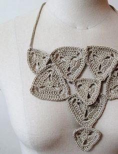 Bib necklace - crocheted triangle motifs by NbyhaNNa on Etsy