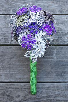 Cascading Purple, Green & Silver Brooch Bouquet from Silver Stems