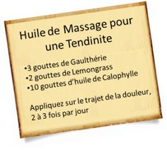 soigner une tendinite avec une huile de massage