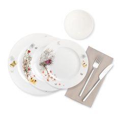 Spring Time Yemek Takımı / Dinnerware Set - Bone China   24 Pieces  6 Parça Servis Tabağı / Pieces Dinner Plate  6 Parça Kase / Pieces Deep Plate  6 Parça Yemek Tabağı / Pieces Compote Bowl  6 Parça Tatlı Tabağı / Pieces Dessert Plate #bernardo #tabledesign