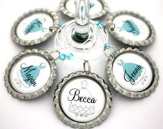 Tiffany blue bridal shower favors bridesmaid gown bachelorette favor personalized  wine charms. Any color.