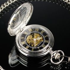 PACIFISTOR Vintage Retro Transparent Skeleton Mechanical Mens Pocket Watch Chain
