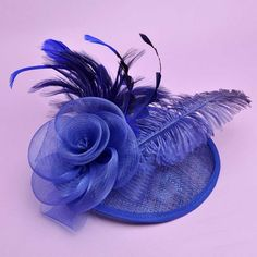 Venusvi Women Feather/Net Luxury Black and Ivory Flowers With Wedding/Party Headpiece (Blue) * Be sure to check out this awesome product.