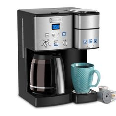 Cuisinart Coffee Center 12-Cup Stainless Steel Coffee Maker and Single-Serve Brewer-SS-15P1 - The Home Depot Coffee Maker With Grinder, Single Coffee Maker, Pod Coffee Makers, Cold Brew Coffee Maker, Single Serve Coffee, Coffee Brewer, Drip Coffee Maker, Coffee Cups, Coffee Latte