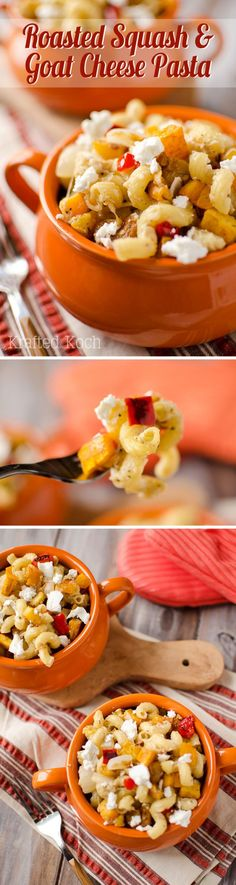Roasted Squash and Goat Cheese Pasta - Krafted Koch - A delicious vegetarian recipe loaded with rich fall flavors! Veggie Recipes, Real Food Recipes, Vegetarian Recipes, Cooking Recipes, Yummy Food, Noodle Recipes, Fall Recipes, Veggie Dinners, Yummy Veggie