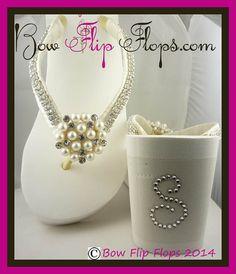 Bridal Flip Flops Wedge Rhinestone Initials Pearl Diamond Flower Bling Satin Jewel Bride Wedding Ribbon Bow, Great for brides, bridesmaids