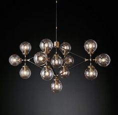 Bistro Globe Lattice Chandelier Brass and Bronze | RH Modern