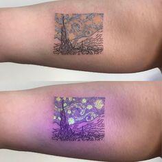 UV Tattoo Artist Tukoi Oya. Tukoi Oya is a UV tattoo artist from Melbourne, Australia. For Read more and  UV Tattoos View Website  #art #arts #tattoo #tattoos #uvtattoo #uvtattooideas #tattoodesign #tattooideas #tattoofrauen #tattoosforwoman #tattoodesigns #tattoomodelsfemale #tattoomodels #tattoomodel #dövme #dövmemodelleri #dövmetasarımları #tukoi #tukoioya #artwoonz #tattoominimalist #tattoominimal #vangogh #vangoghart #starrynight #starrynighttattoo Uv Ink Tattoos, Cute Tattoos, Black Tattoos, Body Art Tattoos, Hand Tattoos, Glow Tattoo, Web Tattoo, Black Light Tattoo, Dark Tattoo