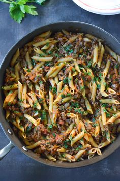 This One-Pan Beef Penne Bolognese recipe is a 30-Minute Meal packed with ground beef, penne pasta, and plenty of delightful vegetables.