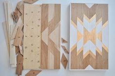 """Geometric wood wall art that's as easy to put together as a jigsaw puzzle. etsy.com Measures 13"""" by 22"""". Get the kit from Adrift In My Mind on Etsy for $85."""
