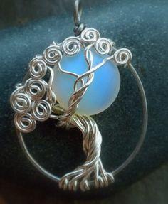 Sea Opal Moonlight in Tree Necklace Sterling Silver