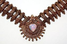 Gorgeous Rare Victorian Copper Necklace with Glass Opal Stone, Hungarian Jewelry, Track Bib.