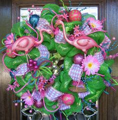 Deco Mesh GREEN and PINK FLAMINGO Wreath by decoglitz on Etsy