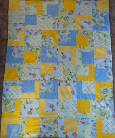 Flannel Blanket Quilt, Baby Blanket, Crib, Toddler,Child Quilt, Gift, Yellow, Blue, Green, Fast Shipping