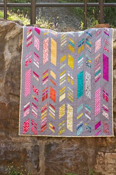 "Beautiful ""Feathers"" quilt by Alison Glass. Pattern available here: http://alisonglass.bigcartel.com/product/feathers-quilt-pattern"