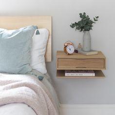 Oak Floating Bedside Table – UrbansizeYou can find Bedside tables and more on our website. Bedroom Furniture, Home Furniture, Bedroom Decor, Bedroom Table, Wood Bedroom, Bedroom Storage, Table Furniture, Nordic Bedroom, Furniture Stencil