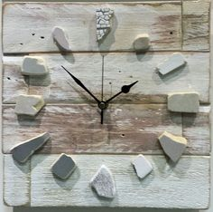 OOAK original driftwood clock wooden wood upcycle reclaimed beach art pottery