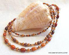 Autumn colors necklace orange azurite necklace by EyeCandybyCathy, $74.00