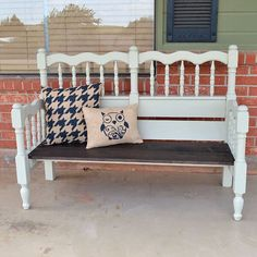 Turn an unused headboard and foot board into a fabulous front porch bench! Upcycling at it's finest in this bed to bench tutorial!
