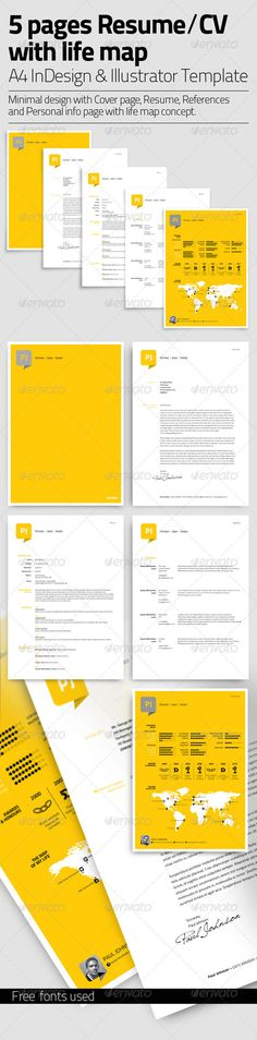 Resume Template | 5 Pages with Life Map — AI Illustrator #honors #life • Available here → https://graphicriver.net/item/resume-template-5-pages-with-life-map/3422353?ref=pxcr