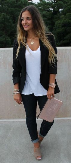 #fall #outfits women's white scoop-neck shirt, black blazer, black skinny jeans, and brown peep-toe heel shoes outfit