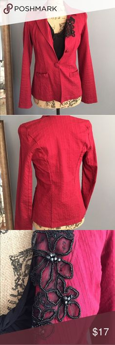 Red pinstripe bead accent blazer Cute deep red blazer by Heart Soul has black pinstripes and black bead flower embroidery accent on the lapel. Fitted with some stretch for shaping. Size M, but seems more like a S. EUC. 76% rayon, 20% nylon, 4% spandex. Jackets & Coats Blazers