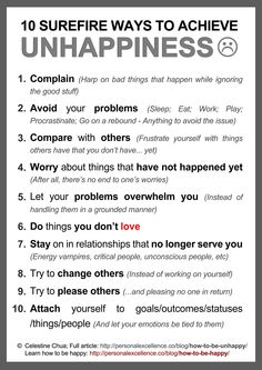 10 Surefire Ways to Achieve Unhappiness