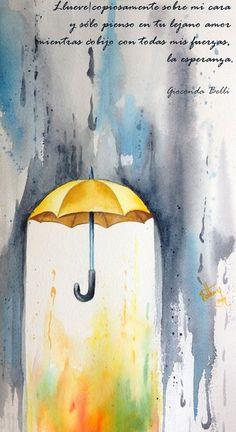 Painting rain yellow umbrella Watercolour painting, I love the idea of this painting. Yellow Umbrella, Umbrella Art, Umbrella Painting, Drawing Umbrella, Umbrella Tattoo, Arte Inspo, Art Plastique, Art Studios, Painting Inspiration