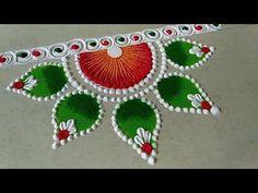 YouTube Easy Rangoli Designs Videos, Easy Rangoli Designs Diwali, Diwali Special Rangoli Design, Indian Rangoli Designs, Rangoli Designs Latest, Rangoli Designs Flower, Rangoli Border Designs, Small Rangoli Design, Rangoli Patterns