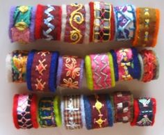 Embroidered Spanish wool felt rings by Rose Waterrose #embroidery #felt