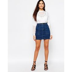 Warehouse Denim Mini Skirt ($32) ❤ liked on Polyvore featuring skirts, mini skirts, navy, high-waist skirt, high waisted denim skirt, short skirts, high waisted skirts and white bodycon skirt