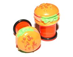00g (10mm) Ear Plugs Body Jewelry Orange Hamburger Novelty Cute Food Ear Gauges Earrings Stretched Piercings (Acrylic, with o-rings) via Etsy