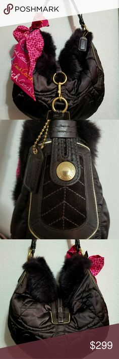 """🆕️ RARE SOHO RABBIT FUR SKI Hobo NWOT! RARE SOHO RABBIT FUR SKI Hobo with Rabbit Fur Trim and Gold Hardware. Quilted brown Satin with rabbit fur trim & genuine leather. Never used in perfect condition. Comes with dustbag. Hand tag intact   Measurements 10.5"""" x 11"""" x 6"""". 🍒🍒 TRADE VALUE $598  FREE SHIPPING + FREE ITEM UP TO $150 YOUR CHOICE...HURRY LIMITED TIME SPECIAL OFFER Coach Bags Shoulder Bags"""
