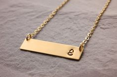 Initial Bar Necklace gold bar necklace silver bar by MegusAttic