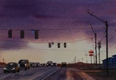 A little watercolour of a road in Texas at the end of the day.