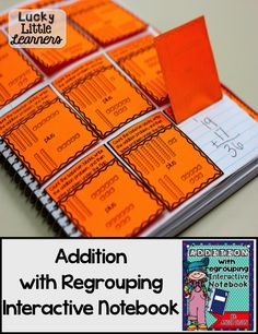 Do you use Interactive Notebooks in your classroom?  This Addition with Regrouping Interactive Notebook has 50 pages of 2-digit and 3-digit addition with regrouping activities!  All of the activities come with a picture of the completed page for easy assembly!
