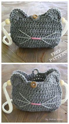 Crochet Cat Purse Free crochet patterns - knitting is as easy as . - crochet Crochet Cat Purse Free crochet patterns – knitting is as easy as … – crochet patterns – Chat Crochet, Crochet Mignon, Crochet Amigurumi, Crochet Tote, Crochet Handbags, Crochet Purses, Crochet Gifts, Things To Crochet, Blog Crochet