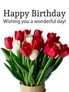 White & Red Tulip Birthday Card