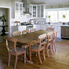 Large wood table in the Kitchen. Who needs an island!?