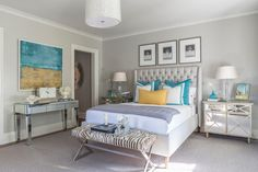 Turquoise and gray bedroom features trio of Chanel No.