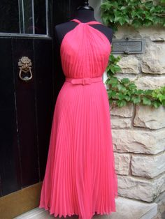 Neiman Marcus Stunning 1970s Coral Pink Pleated Chiffon Gown & Shawl Two Piece Gown, Grecian Goddess, Pleated Bodice, Chiffon Gown, Coral Pink, Beautiful Gowns, Neiman Marcus, 1970s, Shawl