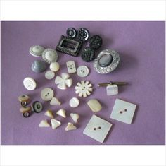 Lot of vintage carved shaped mother of pearl buttons and glass buckle on eBid United Kingdom