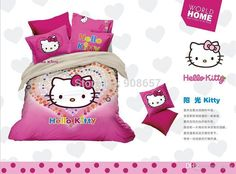 2016 Hot Pink Hello Kitty Cartoon Print Girls Bedding Sets Weddingn Cotton Fabric Comforter Full/Queen Bed Sheets Duvet Covers 4 From Sycw, $141.3 | Dhgate.Com